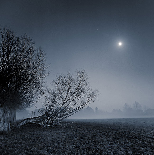 Misty Moonlit Flatford, Suffolk, 11th December 2005, by DaveBulow